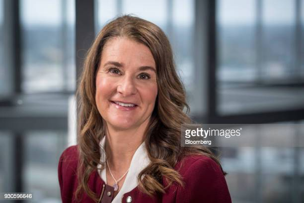 Melinda Gates cochair of the Bill and Melinda Gates Foundation sits for a photograph after a Bloomberg Studio 10 television interview at the South By...