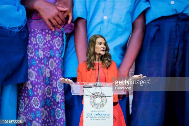 Melinda Gates cochair of the Bill and Melinda Gates Foundation speaks at the International Monetary Fund and World Bank Group Annual Meetings in Nusa...