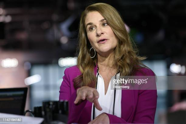 Melinda Gates cochair of the Bill and Melinda Gates Foundation speaks during a Bloomberg Technology television interview in San Francisco California...