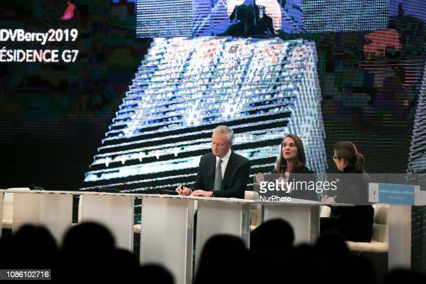 Melinda Gates coChair of the Bill and Melinda Gates Foundation talks as French Finance and Economy Minister Bruno Le Maire listens during the...
