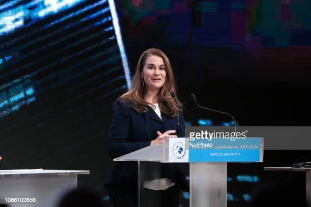 Melinda Gates coChair of the Bill and Melinda Gates Foundation addresses the quotRendezVous de Bercyquot event at the economy ministry in Paris on...