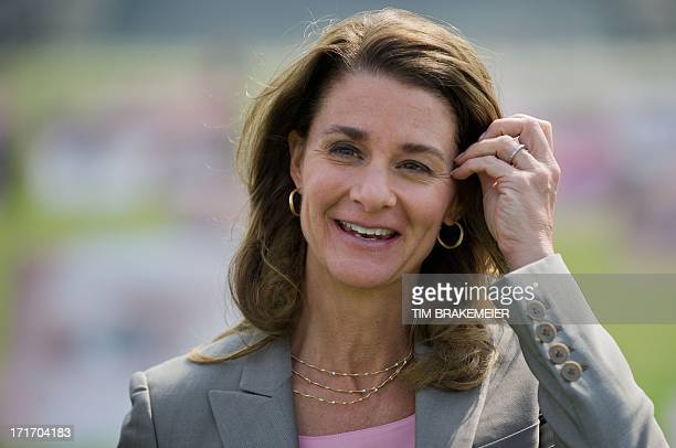 Melinda Gates cochairwoman of the the Bill Melinda Gates foundation gestures as she attends an event of the development advocacy ONE campaign 'I take...