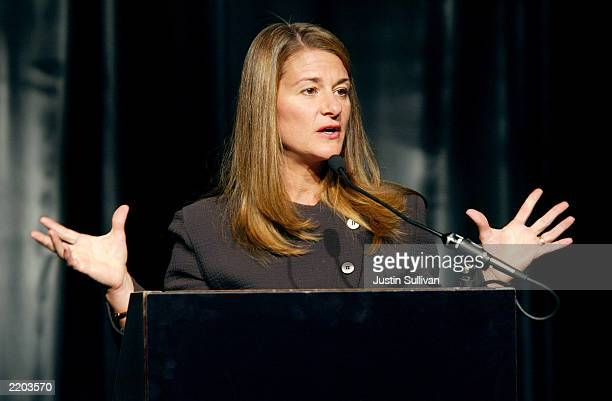 Melinda Gates cofounder of the Bill Melinda Gates Foundation delivers a keynote address at the 2003 National Conference of State Legislatures July 25...