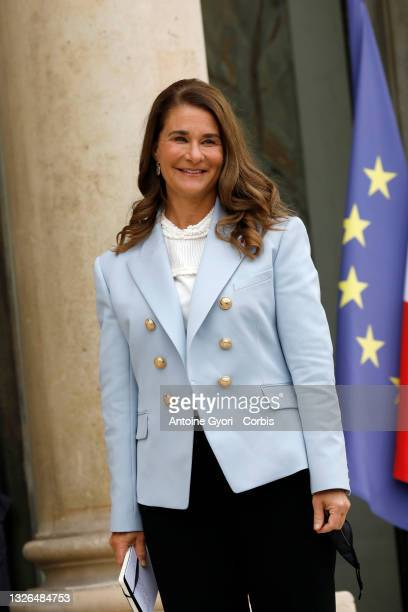 Melinda Gates, co-president of the Bill and Melinda Gates Foundation arrives to meet French President, Emmanuel Macron for the Generation Equality...