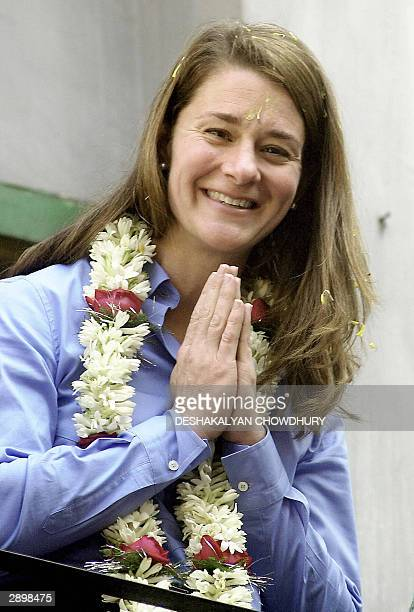 Melinda Gates of the Bill Gates Foundation presses her palms together in greeting during a visit to an HIV-AIDS prevention project in Calcutta, 25...