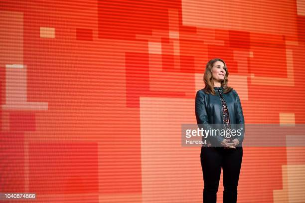 Melinda Gates speaks at Goalkeepers 2018 event at Jazz at Lincoln Center on September 26 2018 in New York City Goalkeepers is a multiyear campaign...