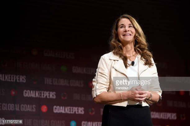 Melinda Gates speaks at Goalkeepers 2019 at Jazz at Lincoln Center on September 25 2019 in New York City Goalkeepers is a multiyear campaign...