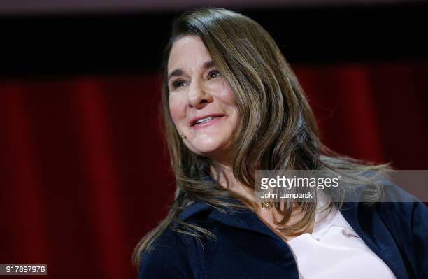 Melinda Gates speaks during the LinManuel Miranda In conversation with Bill Melinda Gates panel at Hunter College on February 13 2018 in New York City