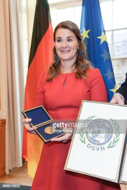 Melinda Gates wife of Microsoft founder Bill Gates receives the Otto Hahn Peace Medal in Gold for her exemplary commitment to global health education...