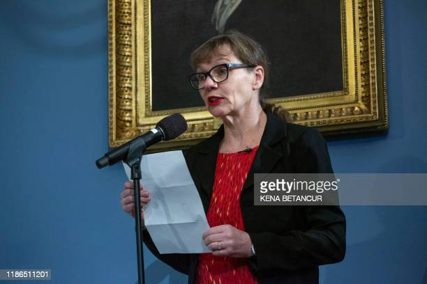 Melinda Hunt speaks before New York Mayor Bill de Blasio signs a legislation to make Hart Island a public park as in New York on December 04 2019...