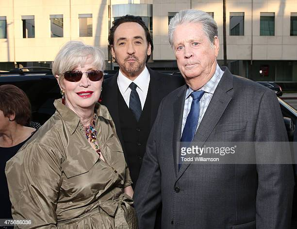 """Melinda Ledbetter, John Cusack and Brian Wilson attend the Roadside Attractions' Premiere Of """"Love & Mercy"""" at the Samuel Goldwyn Theater on June 2,..."""