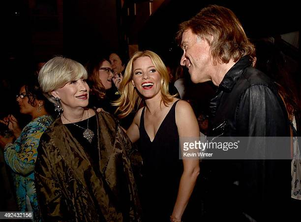 """Melinda Ledbetter Wilson, actress Elizabeth Banks and director Bill Pohlad pose at Roadside Attraction's """"Love and Mercy"""" DVD release and music..."""