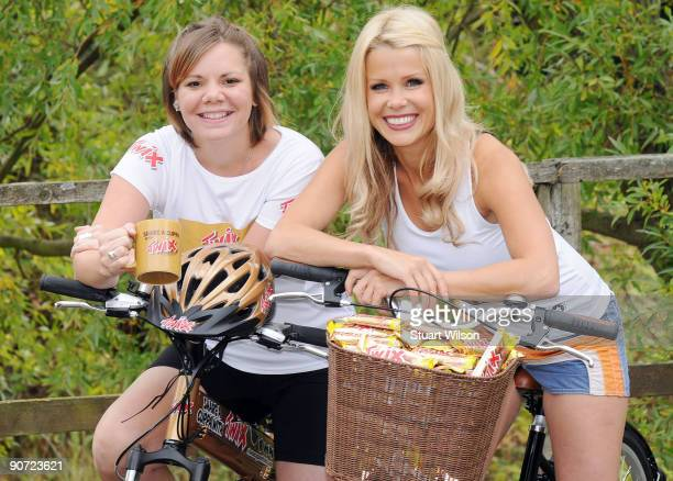 Melinda Messenger poses on a bicycle with Twix's 'tea lady' Rebecca Wass during a photocall to promote The Twix Tea Tour the nation's longest tea...
