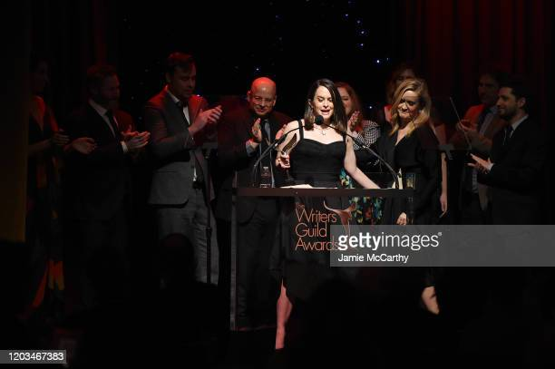 Melinda Taub and staff members from Full Frontal with Samantha Bee accept an award onstage during the 72nd Writers Guild Awards at Edison Ballroom on...