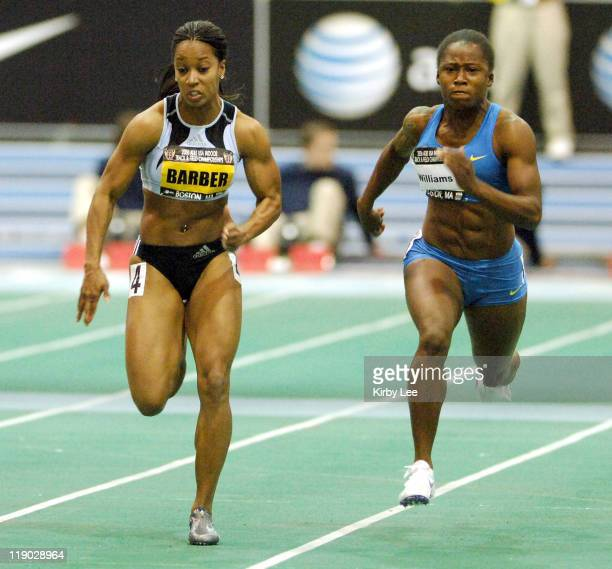 Me'Lisa Barber and Lauryn Williams duel in the women's 60m in the USA Track & Field Indoor Championships at the Reggie Lewis Center at Roxbury...