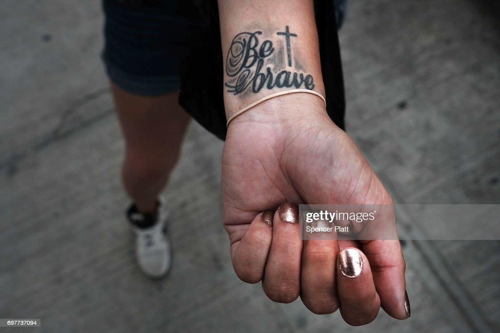 Melissa, a patient at a Brooklyn methadone clinic for those addicted to heroin, displays a tattoo with the words 'Be Brave' as she continues to fight with addiction on June 19, 2017 in New York City. Newly released data shows that over 1,370 New Yorkers died from overdoses in 2016, the majority of those deaths involved opioids. According to the Deputy Attorney General, drug overdoses are now the leading cause of death for Americans under the age of 50.