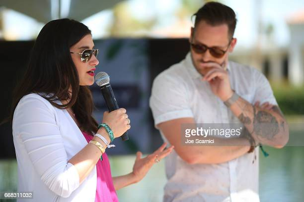 Melissa Abbott and Justin Giangrande speak to the crowd at the KALEIDOSCOPE LAWN TALKS presented by Delta Air Lines Cannabinoid Water on April 13...
