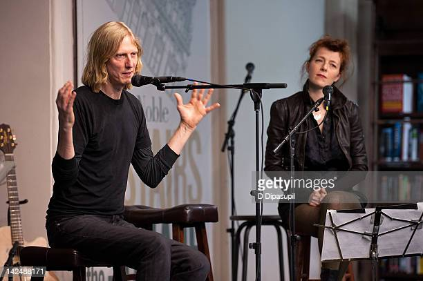Melissa Auf der Maur looks on as Eric Erlandson promotes Letters to Kurt at Barnes Noble Union Square on April 5 2012 in New York City