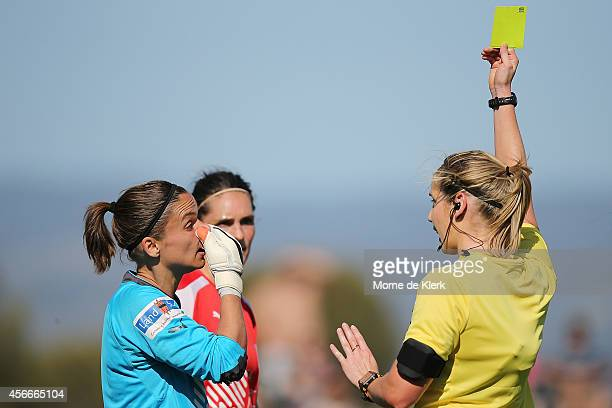 Melissa Barbieri of Adelaide receives a yellow card after reacting towards the referee during the round four WLeague match between Adelaide and...