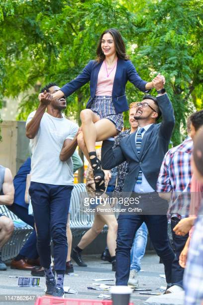 Melissa Barrera is seen on the movie set of 'In the Heights' on June 03 2019 in New York City
