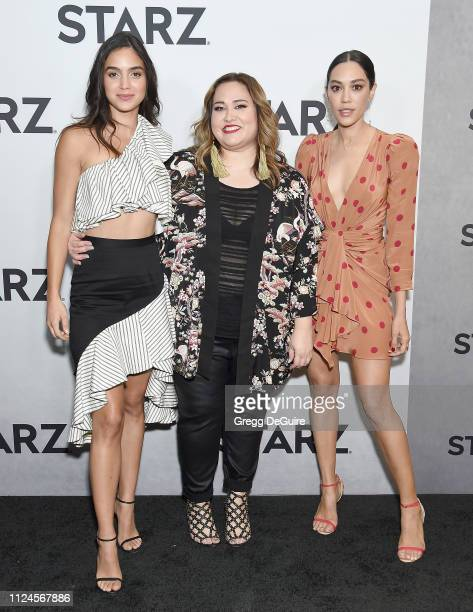 Melissa Barrera Tanya Saracho and Mishel Prada attend the 2019 Winter TCA Tour STARZ Red Carpet Event at 71Above on February 12 2019 in Los Angeles...