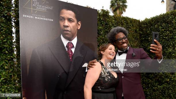 Melissa Bell and W Kamau Bell attend the 47th AFI Life Achievement Award honoring Denzel Washington at Dolby Theatre on June 06 2019 in Hollywood...