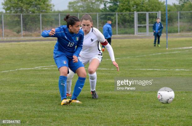 Melissa Bellucci of Italy women's U16 competes with Clara Moreira of France women's U16 during the 2nd Female Tournament 'Delle Nazioni' match...
