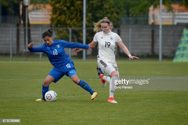 Melissa Bellucci of Italy women's U16 competes with laura Haas Germany women's U16 during the 2nd Female Tournament 'Delle Nazioni' match between...