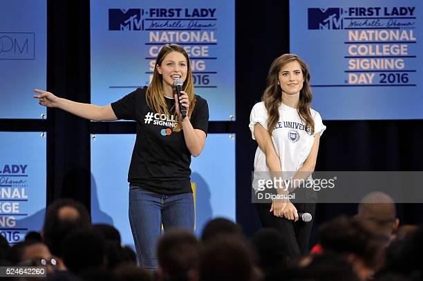 Melissa Benoist and Allison Williams speak onstage during the 3rd Annual College Signing Day at the Harlem Armory on April 26 2016 in New York City...
