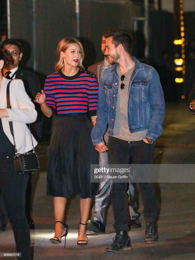 Melissa Benoist and Chris Wood are seen arriving at 'Jimmy Kimmel Live' on January 15, 2018 in Los Angeles, California.