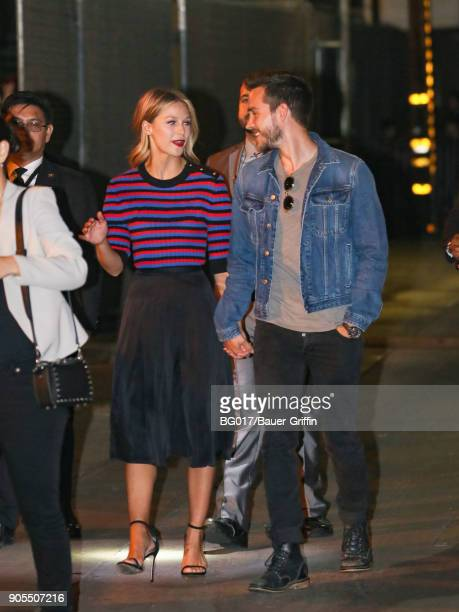 Melissa Benoist and Chris Wood are seen arriving at 'Jimmy Kimmel Live' on January 15 2018 in Los Angeles California