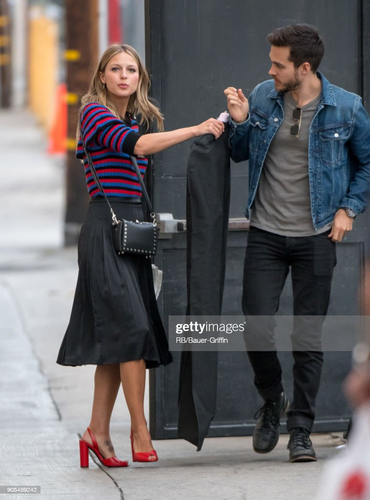 Melissa Benoist and Chris Wood are seen at 'Jimmy Kimmel Live' on January 15, 2018 in Los Angeles, California.