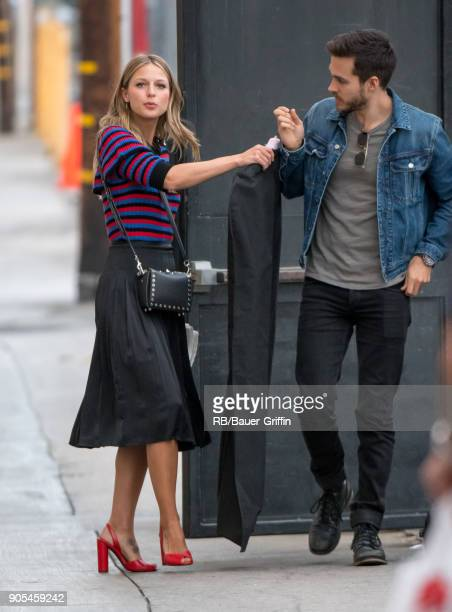 Melissa Benoist and Chris Wood are seen at 'Jimmy Kimmel Live' on January 15 2018 in Los Angeles California