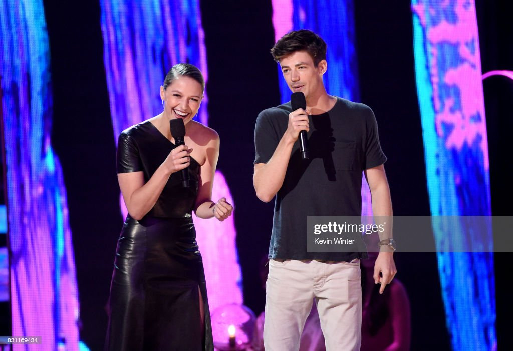 Melissa Benoist and Grant Gustin speak onstage during the Teen Choice Awards 2017 at Galen Center on August 13, 2017 in Los Angeles, California.