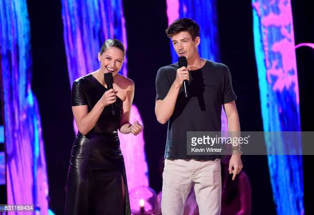 Melissa Benoist and Grant Gustin speak onstage during the Teen Choice Awards 2017 at Galen Center on August 13 2017 in Los Angeles California