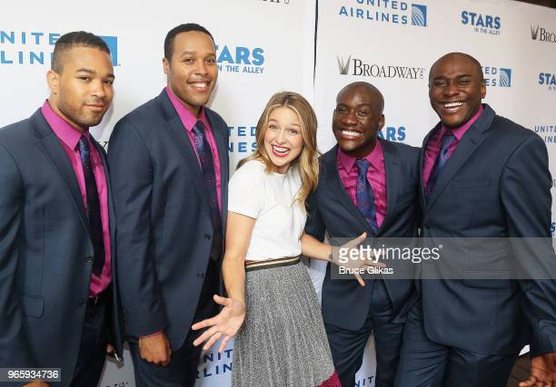 Melissa Benoist and the cast of 'Smokey Joe's Cafe' pose at 2018 Stars In The Alley celebrating the end of the Broadway 20172018 season on June 1...