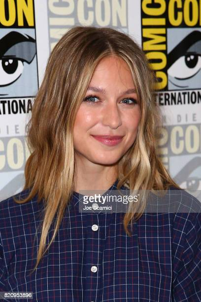 Melissa Benoist arrives at the 'Supergirl' pressline at ComicCon International 2017 on July 22 2017 in San Diego California