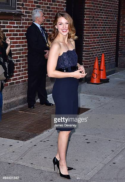 Melissa Benoist arrives to 'The Late Show With Stephen Colbert' at Ed Sullivan Theater on October 26 2015 in New York City