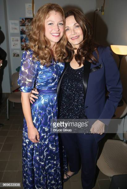 Melissa Benoist as Carole King and Lynda Carter pose backstage at the hit musical Beautiful The Carole King Musical on Broadway at The Stephen...