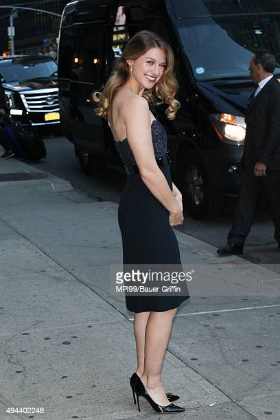 Melissa Benoist at The Late Show With Stephen Colbert on October 26 2015 in New York City