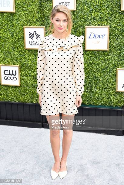 Melissa Benoist attends The CW Network's Fall Launch Event Arrivals at Warner Bros Studios on October 14 2018 in Burbank California