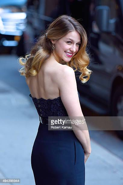 Melissa Benoist attends The Late Show with Stephen Colbert on October 26 2015 in New York City