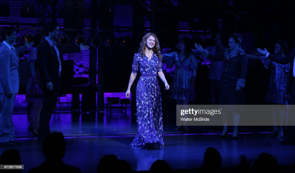 Melissa Benoist during her opening night debut bows in 'Beautiful-The Carole King Musical' at the Stephen Sondheim on June 12, 2018 in New York City.