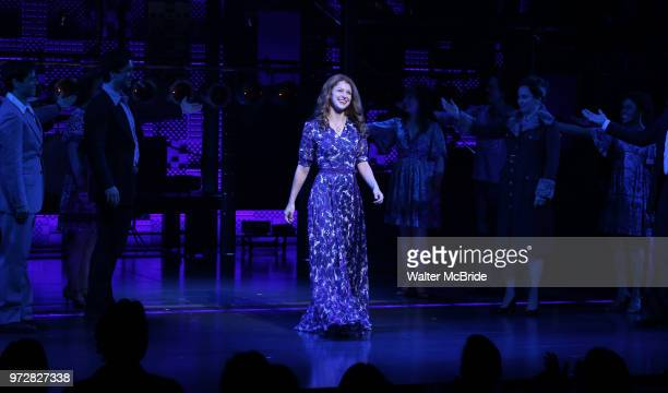 Melissa Benoist during her opening night debut bows in 'BeautifulThe Carole King Musical' at the Stephen Sondheim on June 12 2018 in New York City