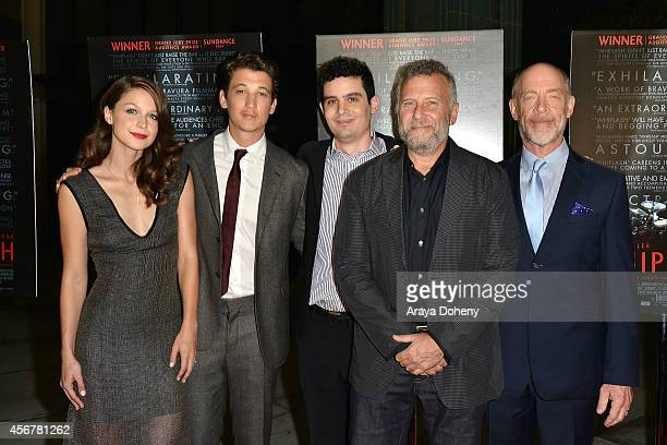 Melissa Benoist Miles Teller Damien Chazelle Paul Reiser and JK Simmons attend the Film Independent Presents Whiplash Special Screening And QA on...