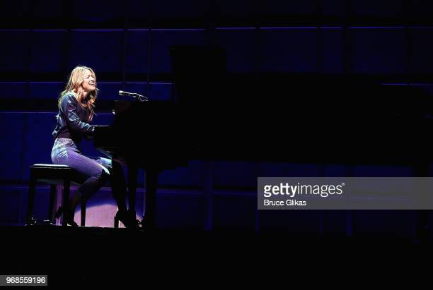 Melissa Benoist performs during a press preview for her broadway debut in 'Beautiful The Carole King Musical' on Broadway at The Stephen Sondheim...