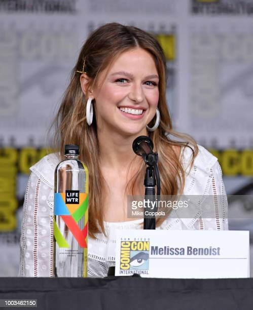 Melissa Benoist speaks onstage at the 'Supergirl' Special Video Presentation and QA during ComicCon International 2018 at San Diego Convention Center...