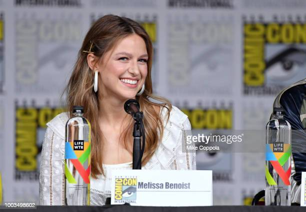 Melissa Benoist speaks onstage at the Supergirl Special Video Presentation and QA during ComicCon International 2018 at San Diego Convention Center...