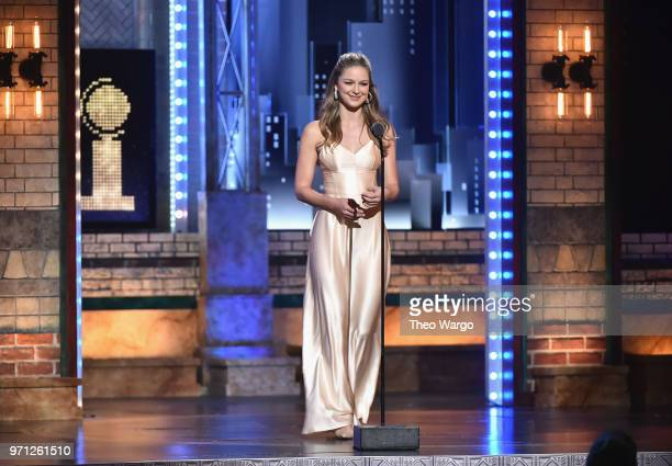 Melissa Benoist speaks onstage during the 72nd Annual Tony Awards at Radio City Music Hall on June 10 2018 in New York City