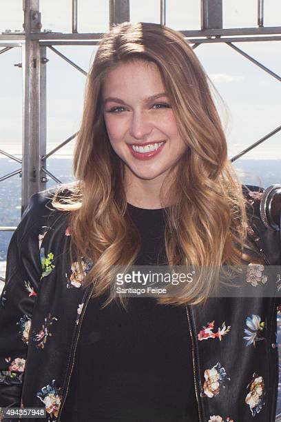 Melissa Benoist 'Supergirl' Visits at The Empire State Building on October 26 2015 in New York City
